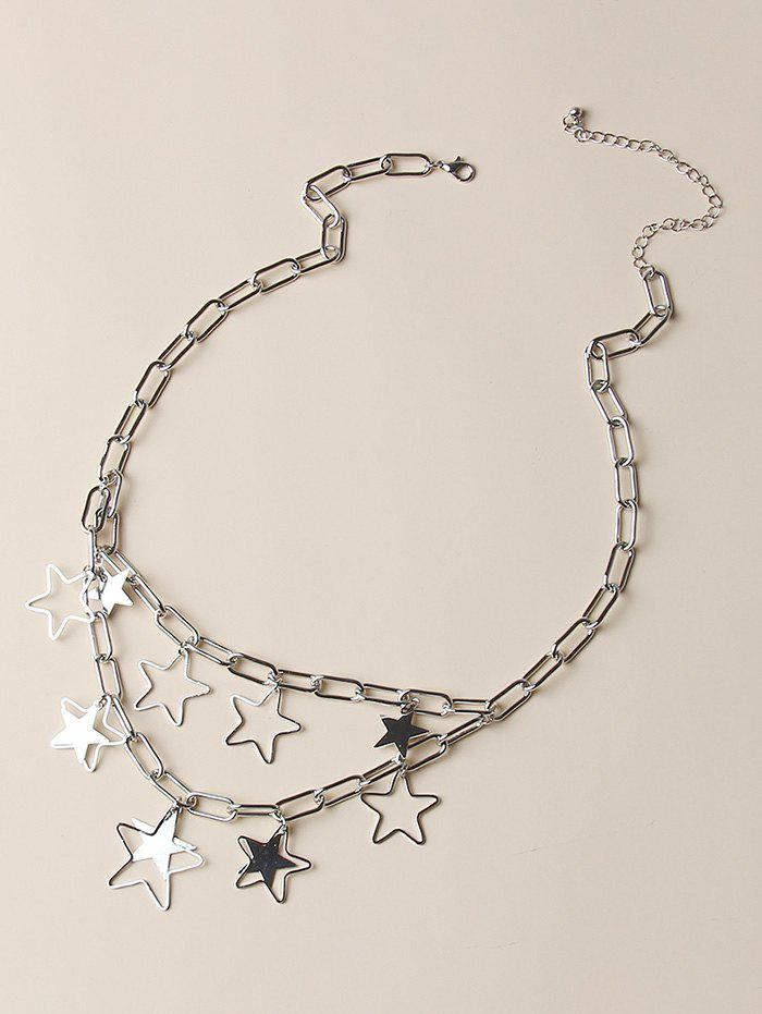 Store Hollow Out Pentagram Layers Charm Necklace