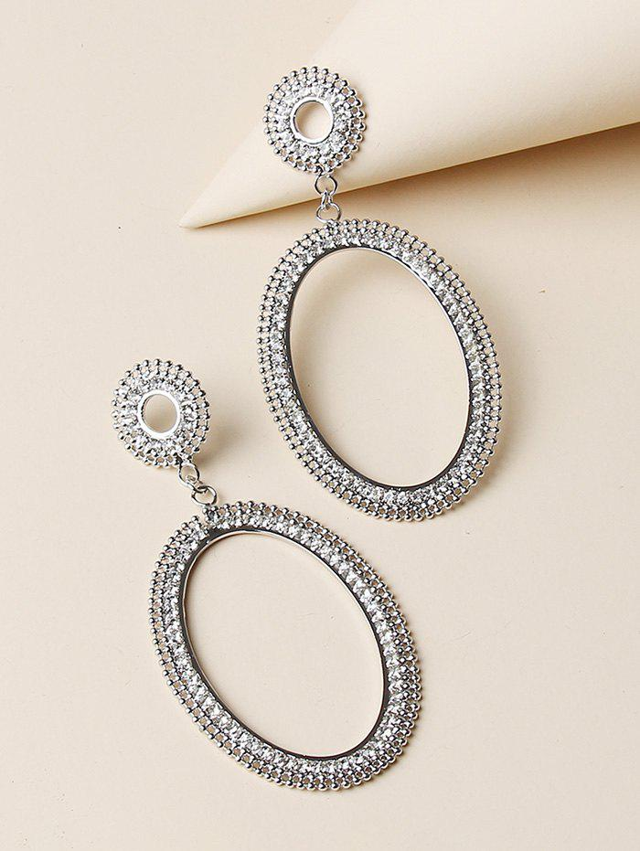 Chic Hollow Out Oval Rhinestone Drop Earrings