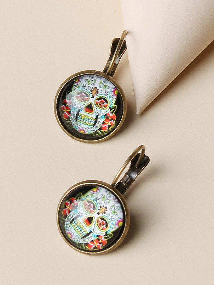 New Retro Skull Flower Pattern Round Earrings
