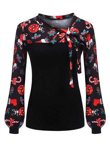 Pussy Bow Christmas Snowflake Umbrella Print Long Sleeve Blouse - BLACK - XL
