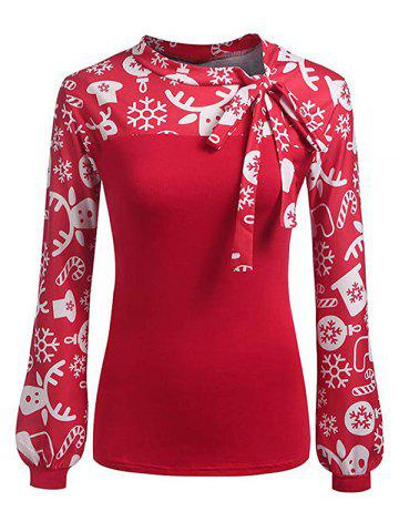 Pussy Bow Christmas Snowflake Umbrella Print Long Sleeve Blouse - RED - XL