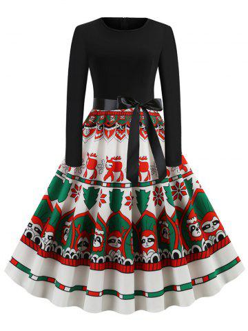 Christmas Pattern Belted Long Sleeve Dress