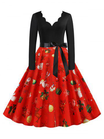 Vintage Scalloped Neck Christmas Printed Belted Long Sleeve Dress - RED - XXL
