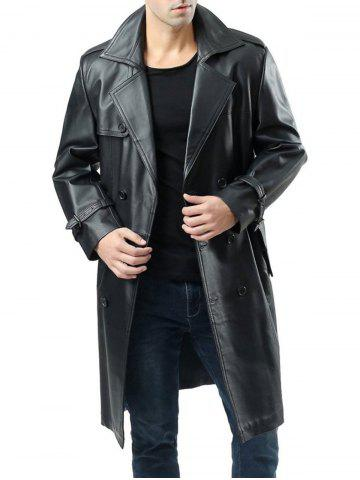 Double Breasted Faux Leather Belted Coat