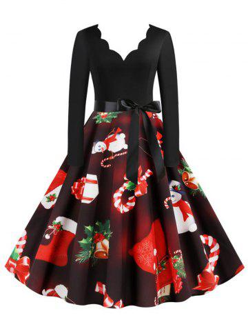 Scalloped Neck Christmas Pattern Belted Long Sleeve Dress