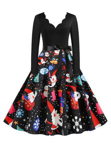 Scalloped Neck Christmas Pattern Long Sleeve Belted Dress