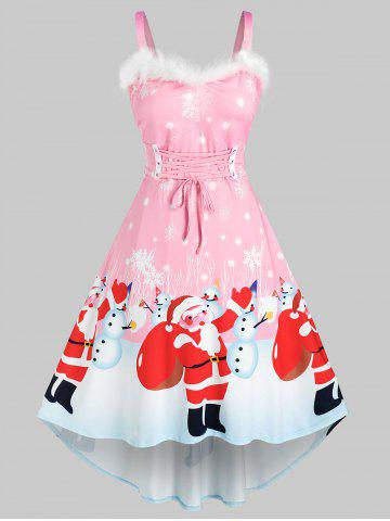 Plus Size Christmas Santa Claus Snowman Faux Fur Insert Lace Up Dress - LIGHT PINK - 1X
