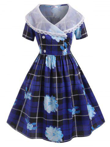 Organza Panel Lace Trim Floral Plaid Plus Size Dress - BLUE - 3X