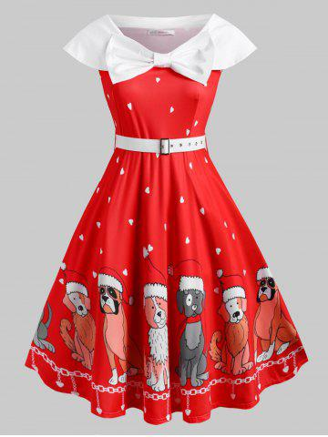 Belted Bowknot Puppy Dog Heart Christmas Plus Size Dress - RED - 1X