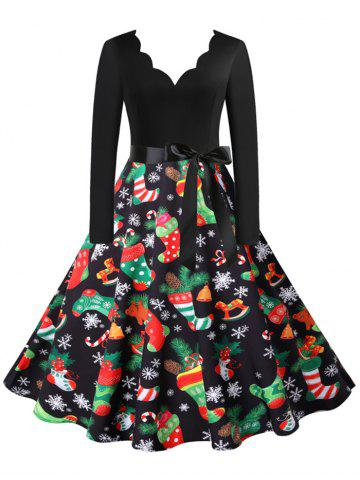 Christmas Snowflake Santa Claus Scalloped Belted V Neck Dress - MULTI-B - XXL
