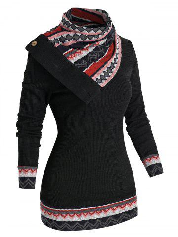 Geometry Patchwork Knitwear - BLACK - M