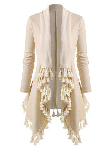 Plus Size Waterfall Draped Tassel Asymmetrical Knit Cardigan