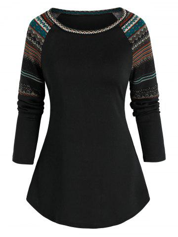 Tribal Pattern Raglan Sleeve T-shirt - BLACK - 3XL