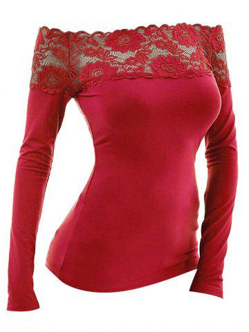Lace Scalloped Off Shoulder Long Sleeve T Shirt - RED - S