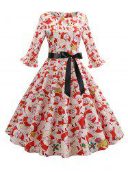 Christmas Santa Claus Flared Cuffs A Line Belted Dress -