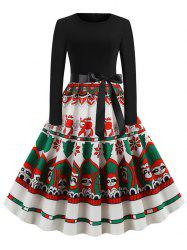 Christmas Pattern Belted Long Sleeve Dress -