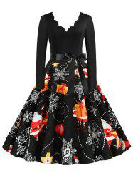 Scalloped Neck Christmas Snowflake Santa Claus Belted Dress -