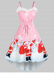 Plus Size Christmas Santa Claus Snowman Faux Fur Insert Lace Up Dress -