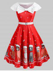 Belted Bowknot Puppy Dog Heart Christmas Plus Size Dress -