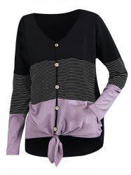 Striped Button Front Knotted Long Sleeve Tee -