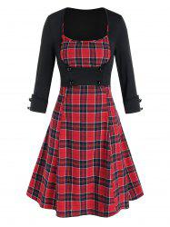 Plaid Mini Cami Dress and Open Bust Top Set -