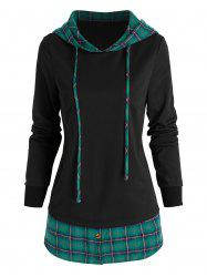 Drawstring Plaid Pattern Faux Twinset Hoodie -