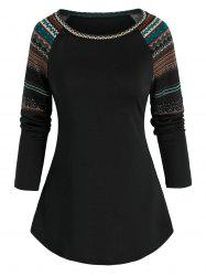 Tribal Pattern Raglan Sleeve T-shirt -