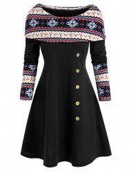 Snowflake Print Foldover Christmas Dress -