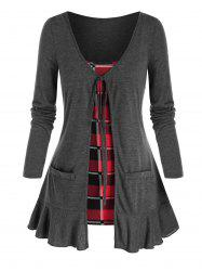 Plus Size Tie Front Flounce Hem Top with Plaid Camisole -