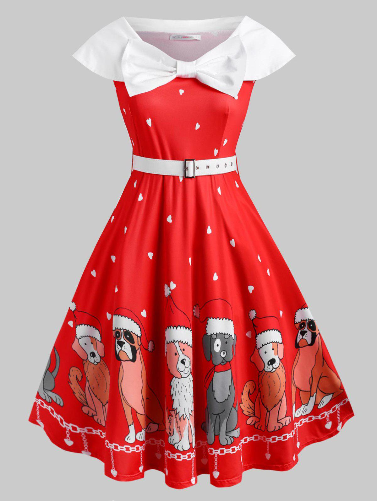 Buy Belted Bowknot Puppy Dog Heart Christmas Plus Size Dress
