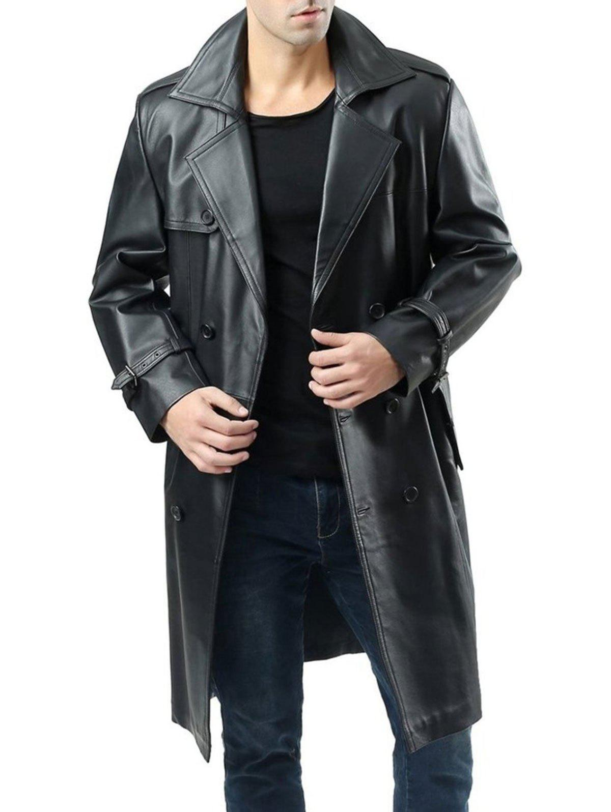 New Double Breasted Faux Leather Belted Coat