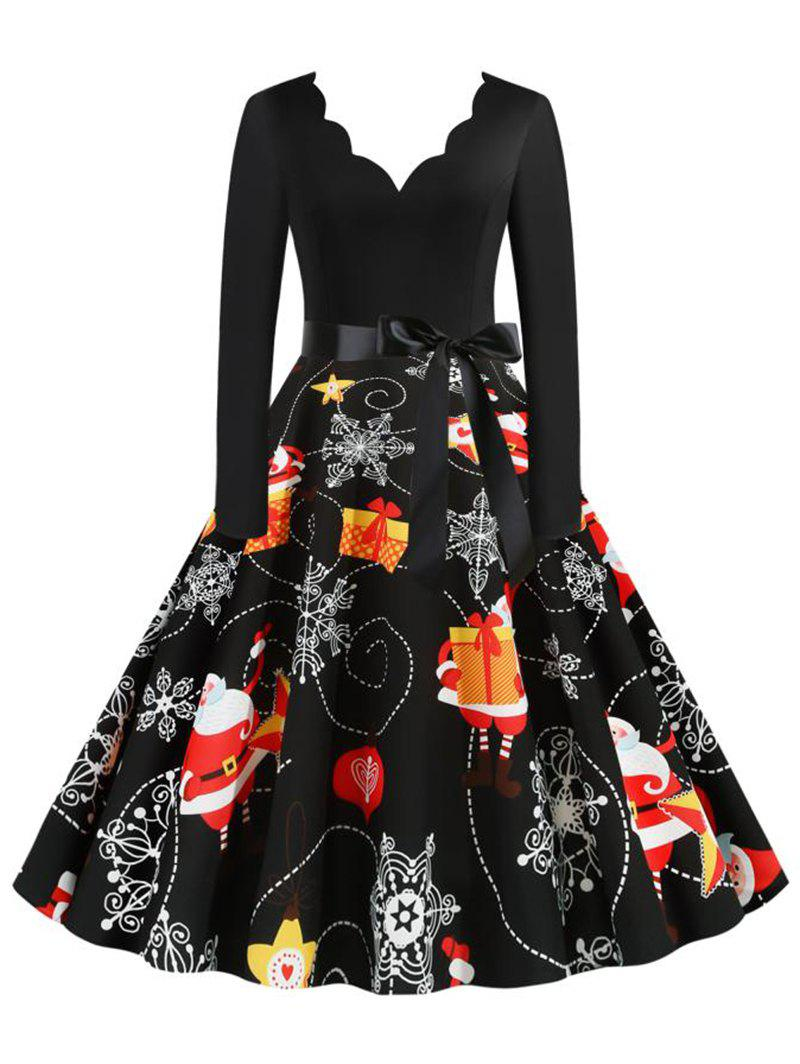 Trendy Scalloped Neck Christmas Snowflake Santa Claus Belted Dress