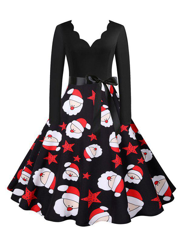Discount Christmas Snowman Santa Claus Scalloped V Neck Belted Dress