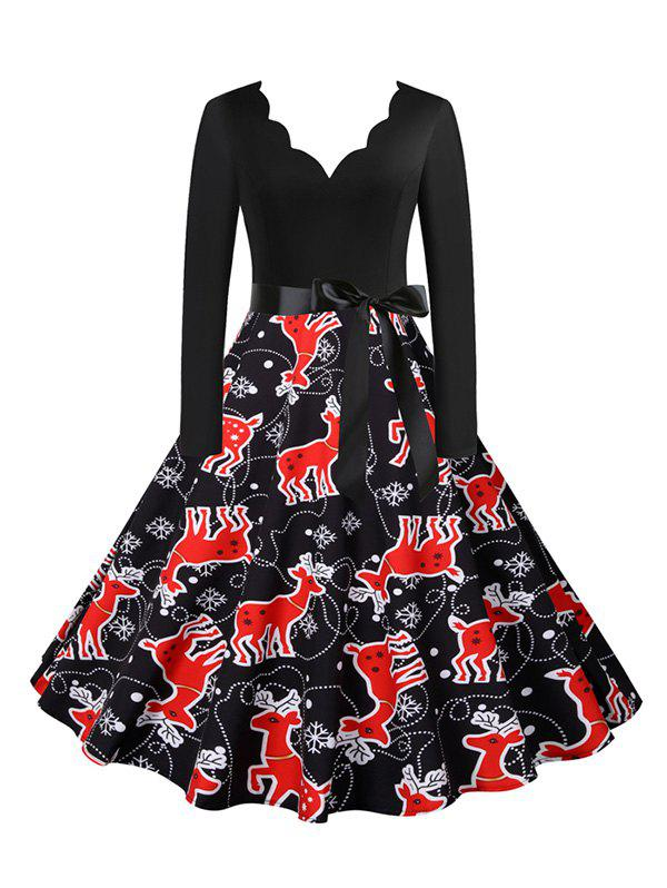 Outfits Christmas Snowflake Elk Tree Print Belted Scalloped V Neck Dress