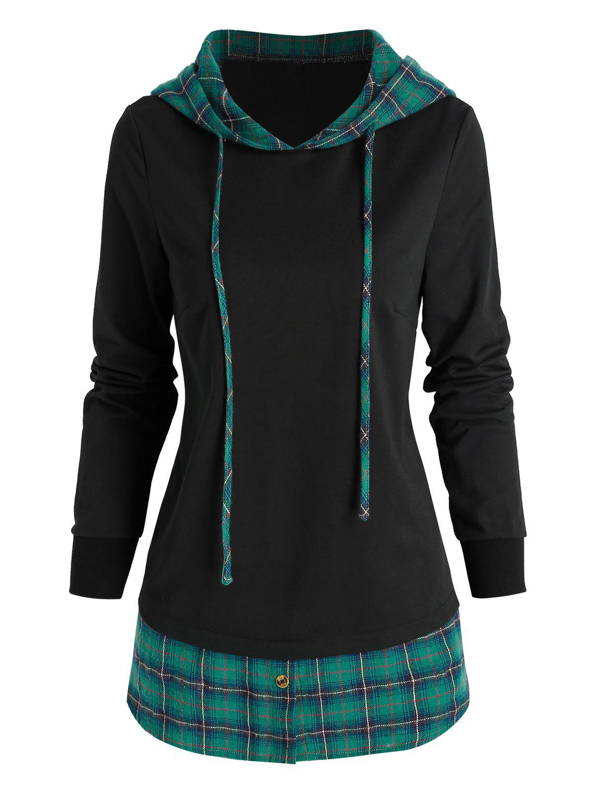 Cheap Drawstring Plaid Pattern Faux Twinset Hoodie