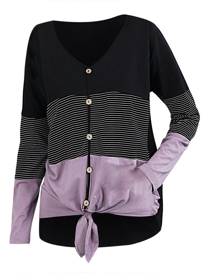 Fancy Striped Button Front Knotted Long Sleeve Tee