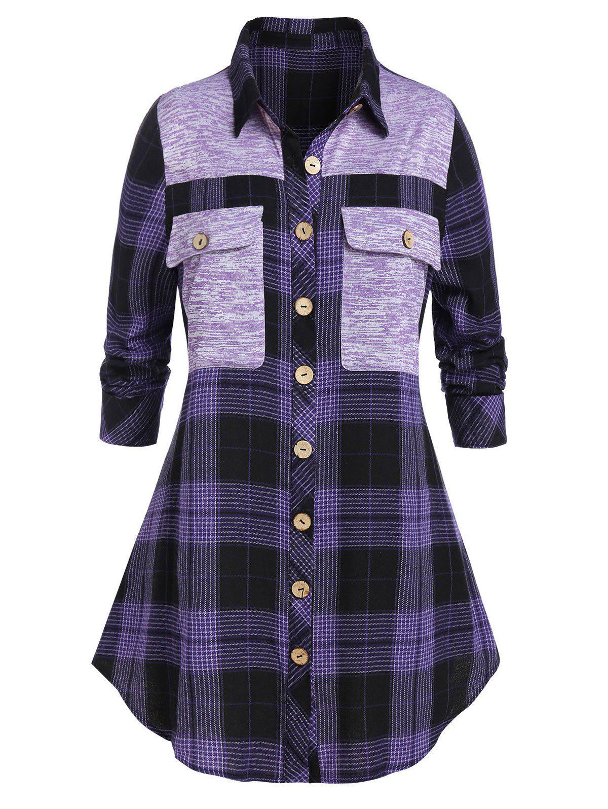 Online Plus Size Plaid Pocket Longline Shirt