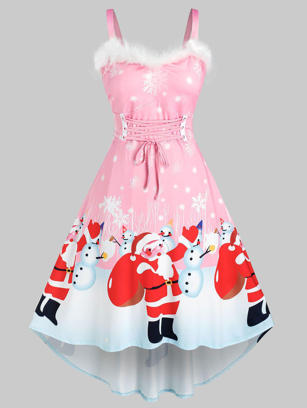 Cheap Plus Size Christmas Santa Claus Snowman Faux Fur Insert Lace Up Dress