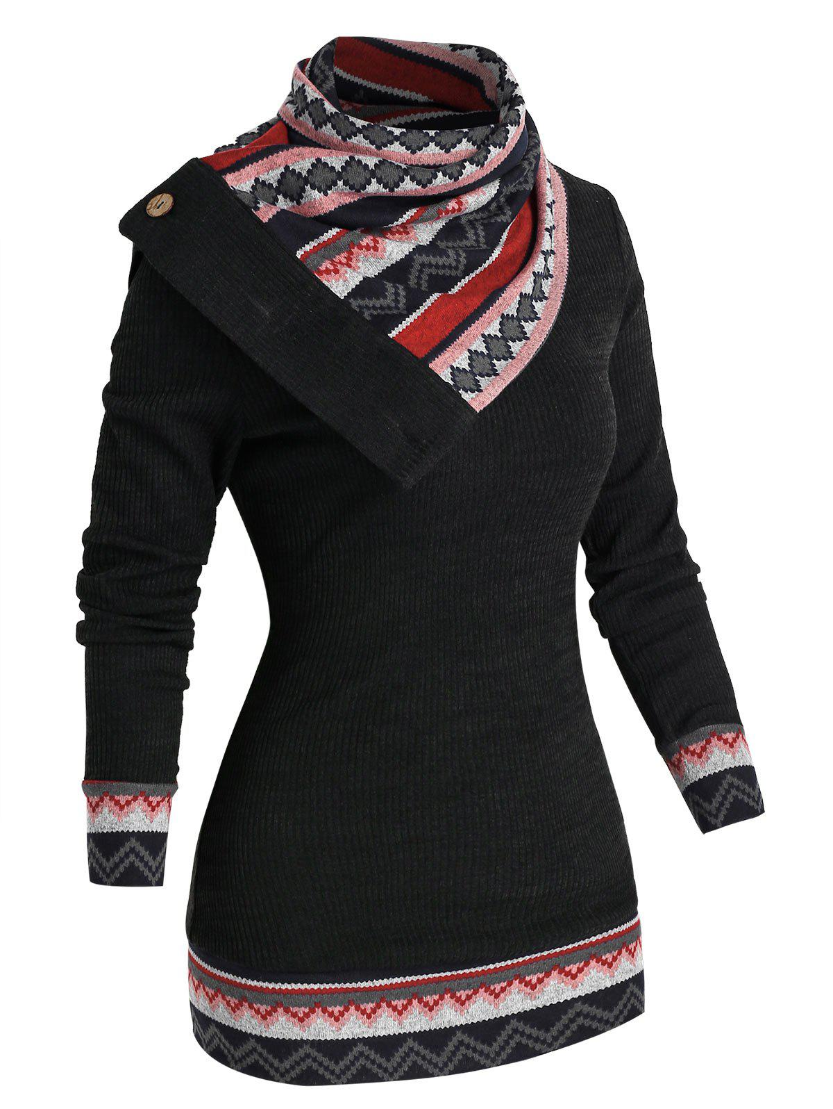 Outfit Geometry Patchwork Knitwear