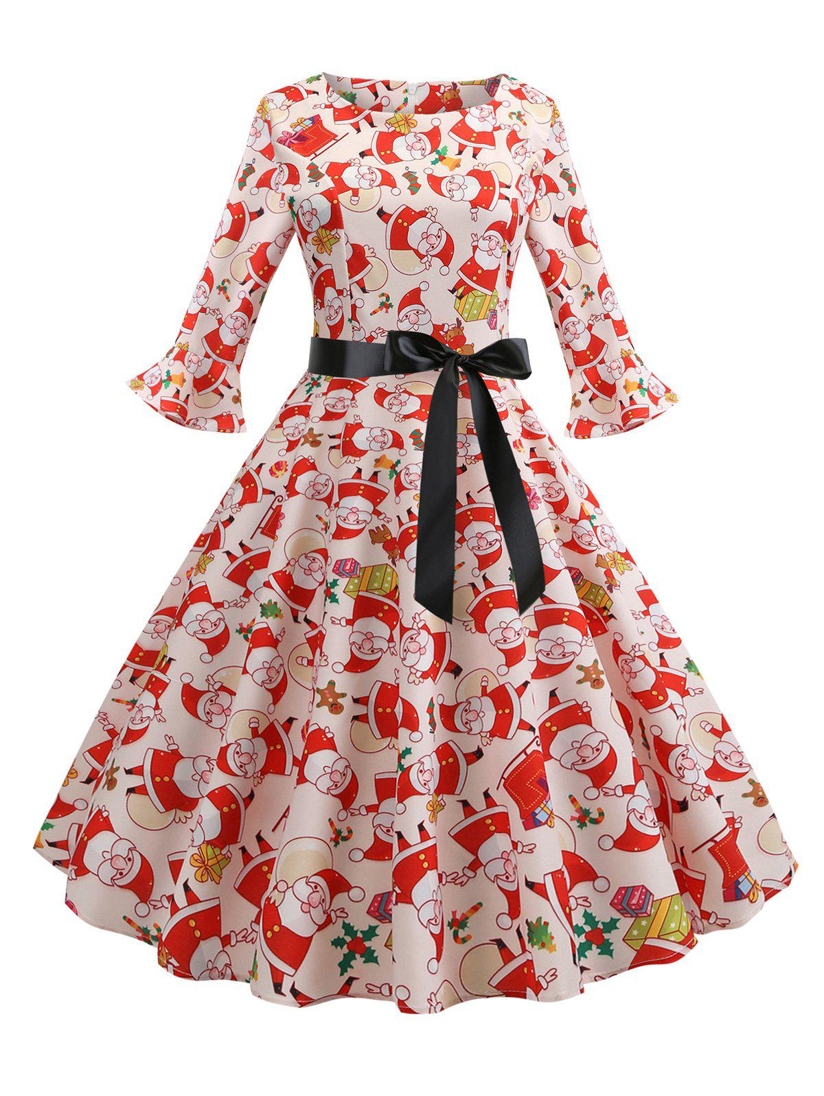 Affordable Christmas Santa Claus Flared Cuffs A Line Belted Dress