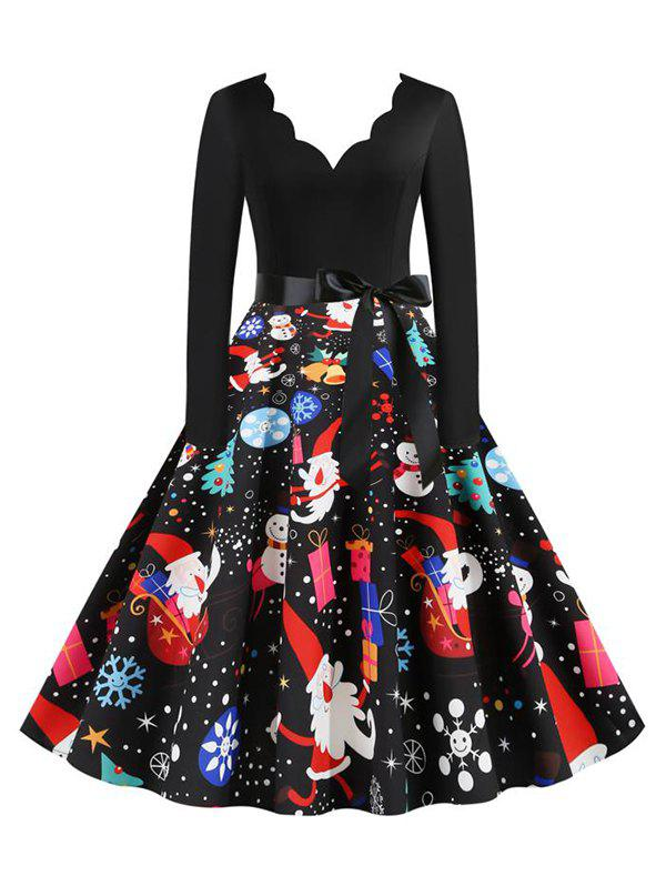 Store Scalloped Neck Christmas Pattern Long Sleeve Belted Dress