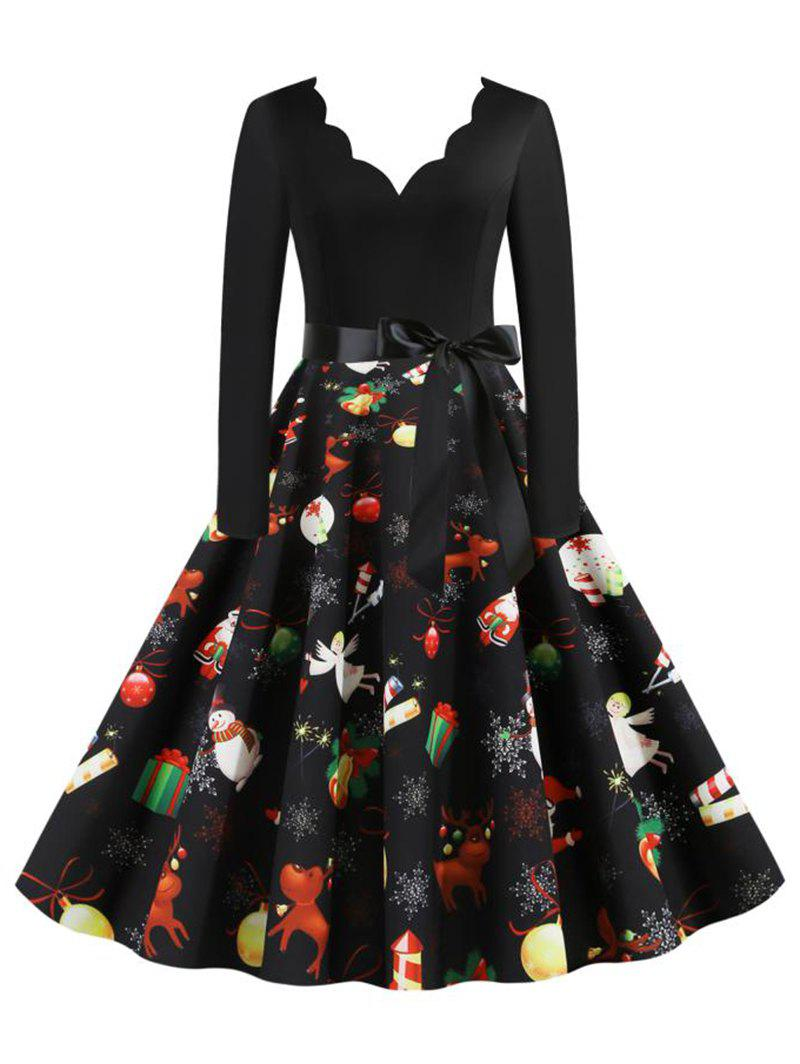Outfits Scalloped Neck Christmas Santa Claus Bell Elk Angel Belted Dress