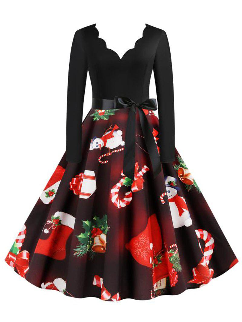 Fashion Scalloped Neck Christmas Pattern Belted Long Sleeve Dress