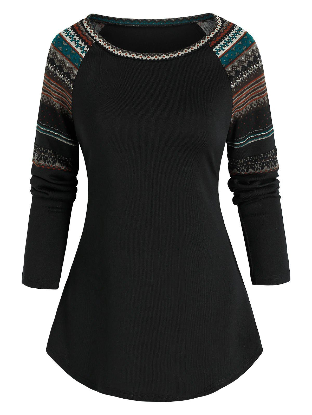 Affordable Tribal Pattern Raglan Sleeve T-shirt