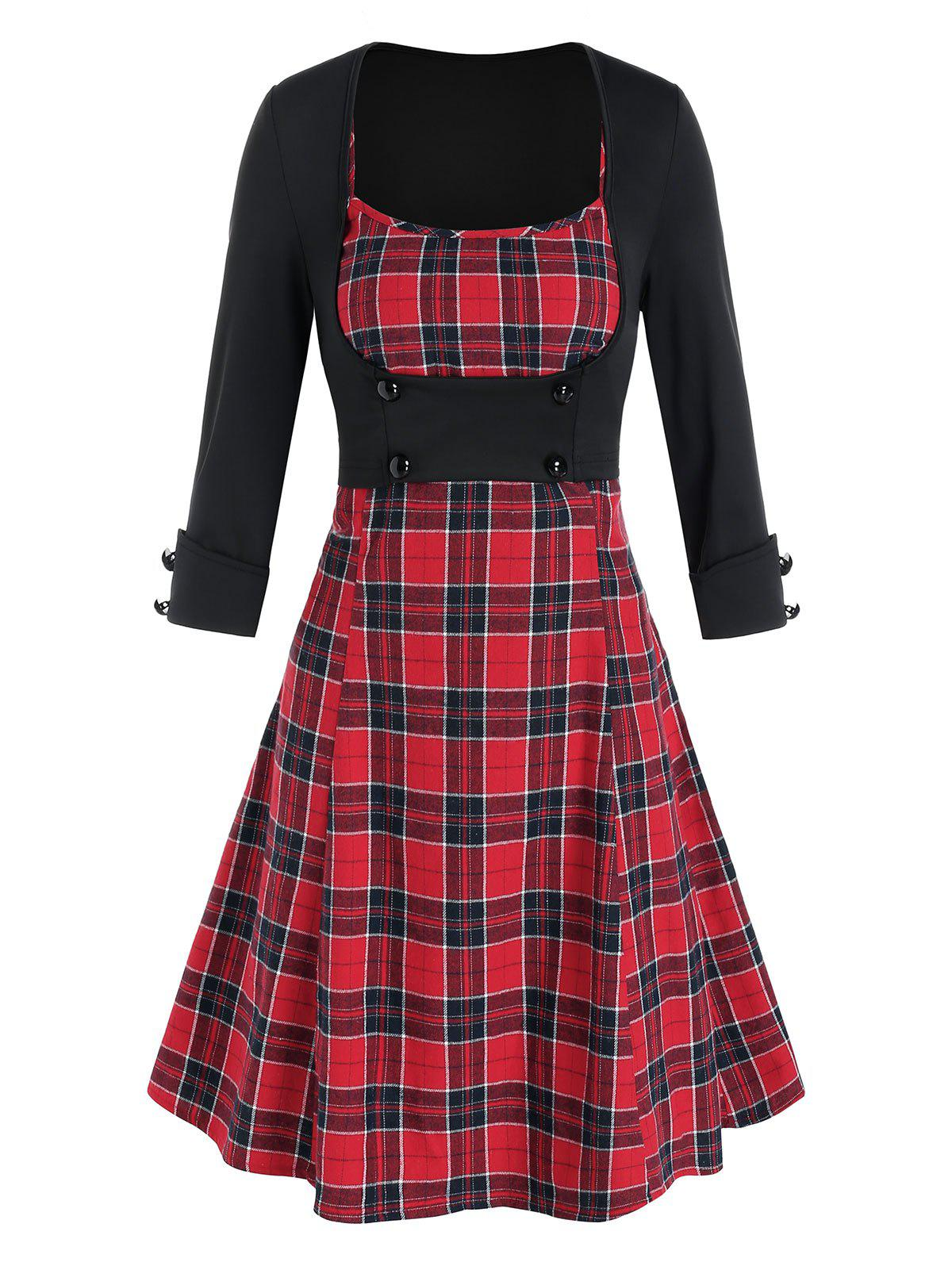 Discount Plaid Mini Cami Dress and Open Bust Top Set