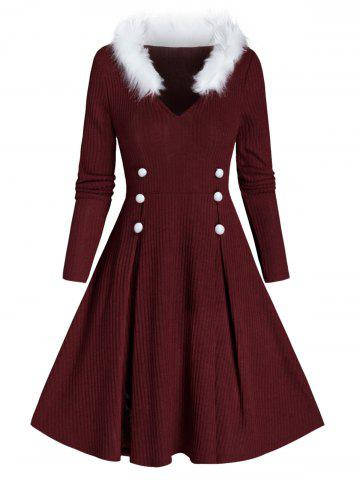 Mock Button Faux Fur Ribbed Sweater Dress
