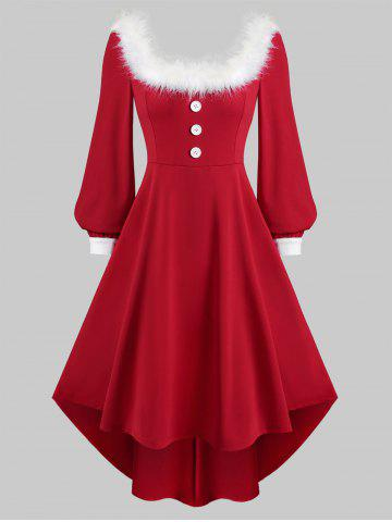 Square Collar Christmas Faux Fur Collar Long Sleeve High Low Dress