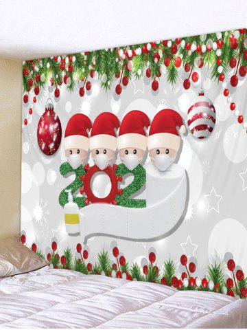 Christmas Ball Santa Print Wall Tapestry - CRYSTAL CREAM - W91 X L71 INCH
