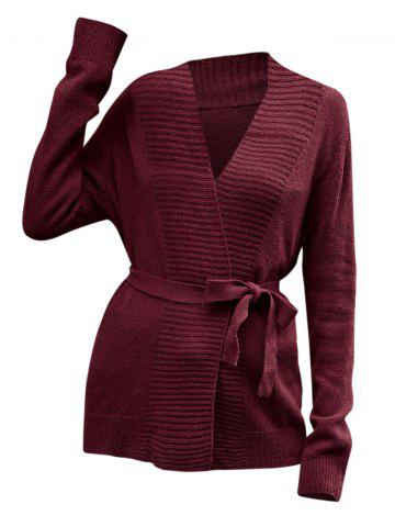 Collarless Belted Knitted Coat - RED - L