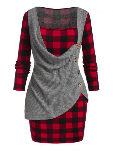 Plus Size Cowl Front Knitwear and Plaid Mini Bodycon Dress Set - RED WINE - 4X